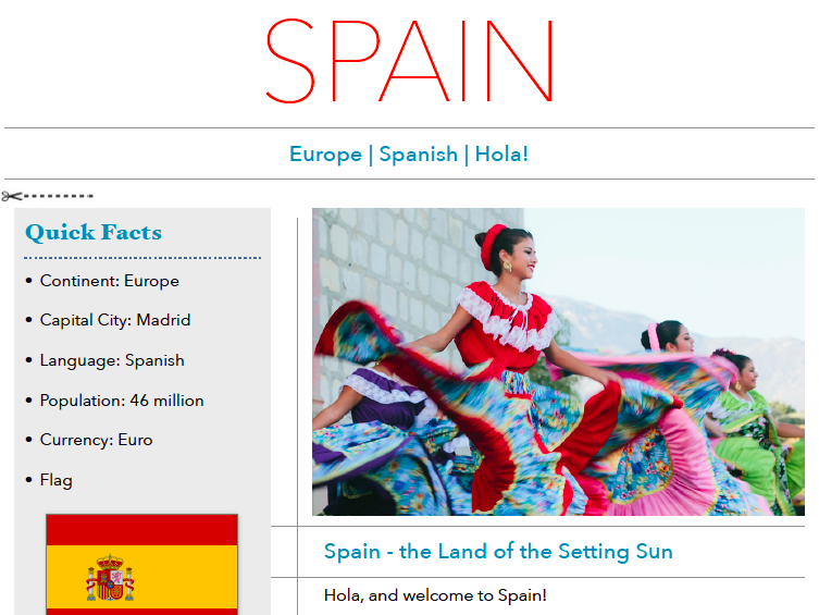 Discover Spain - Printable Worksheet