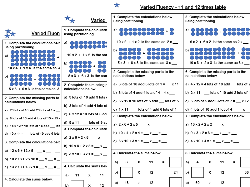 White Rose Maths - Year 4 - Spring Block 1 - 11 and 12 times tables (Varied Fluency)