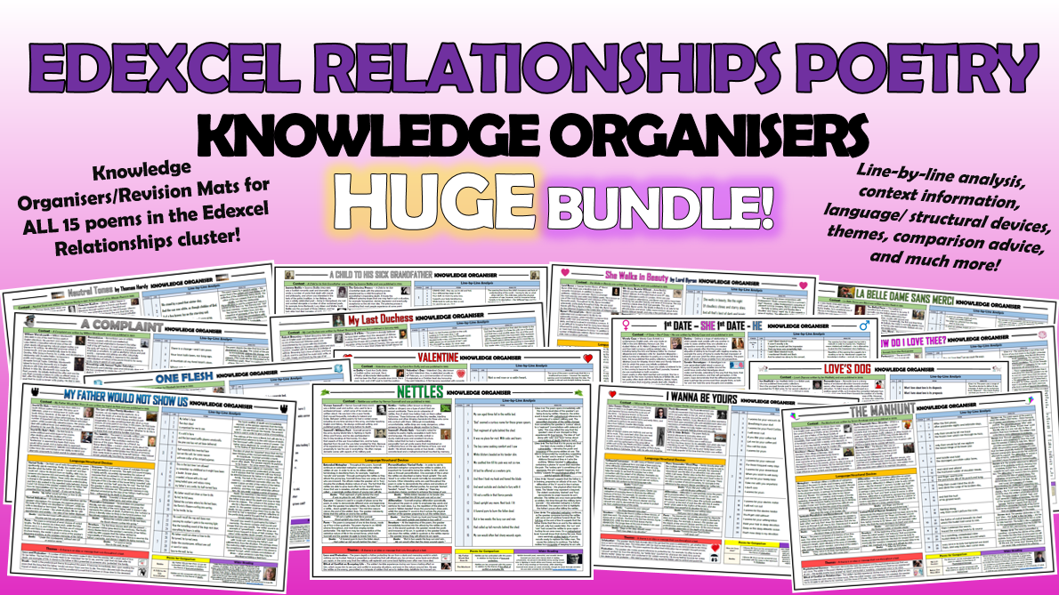 Edexcel Love and Relationships Knowledge Organisers Bundle!