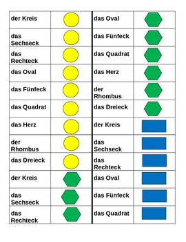 Farben und Formen (Colors and Shapes in German) Dominoes