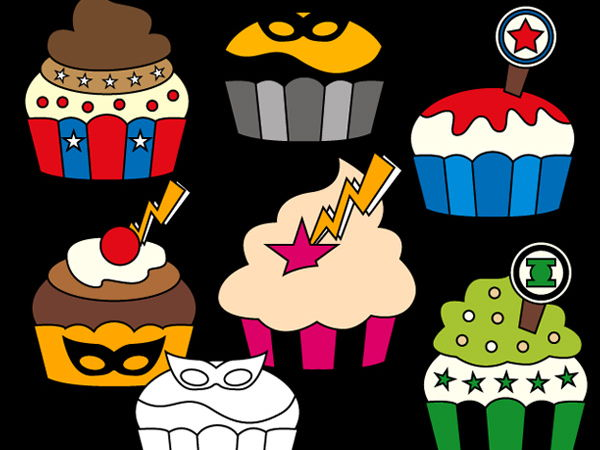 Superhero cupcakes clip art - bright colors