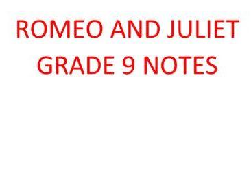 GRADE 9 Romeo and Juliet analysis