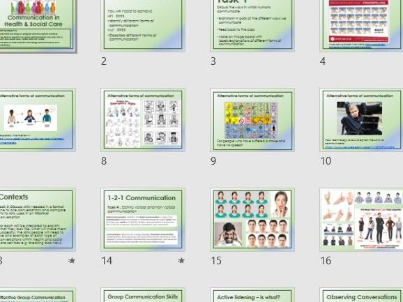 Health and Social Care Communication PowerPoint and worksheet