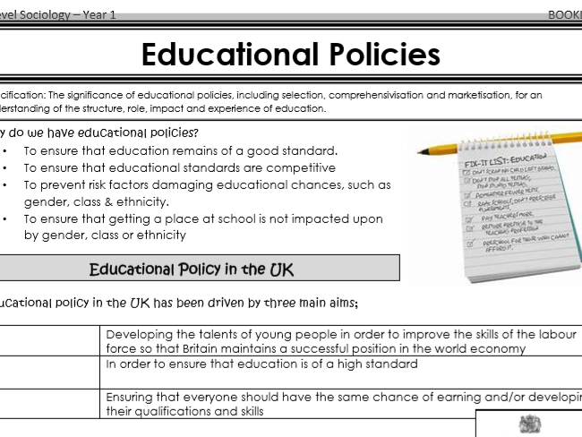 AQA Sociology - Year 1 - Education - Education and social policy