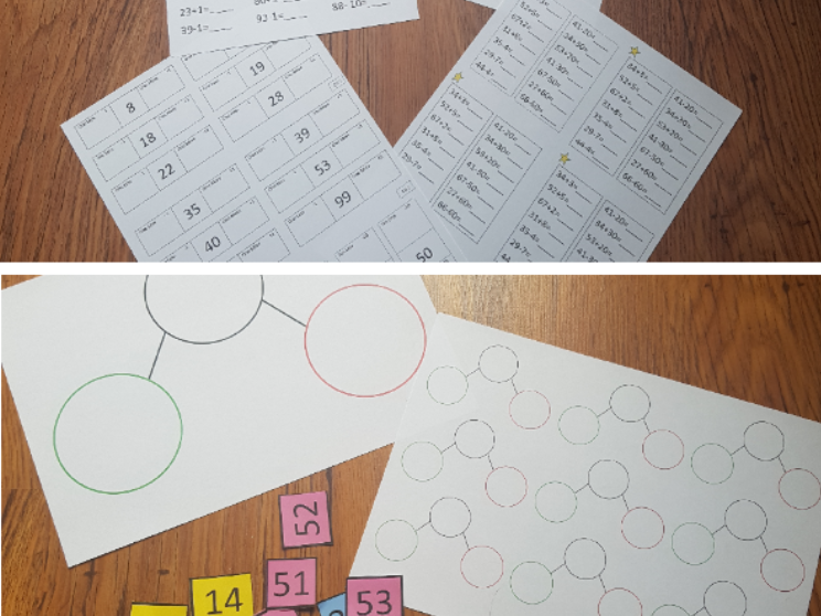 Maths place value and addition and subtraction worksheets and teacher input