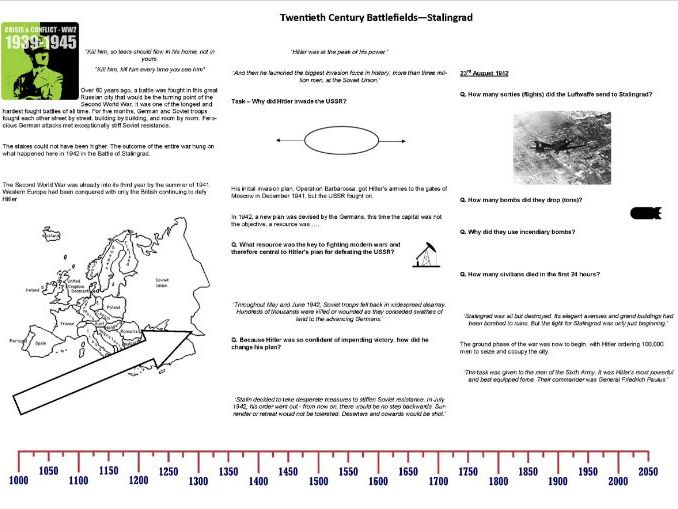Twentieth Century Battlefields -Ep3 - Stalingrad - Worksheet to support the BBC Documentary