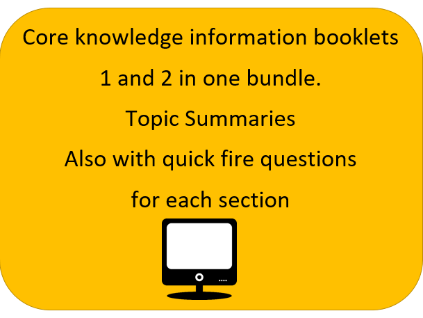 OCR GCSE  Unit 1 and unit 2 Revision / Summary Booklets with Quick Fire Questions.