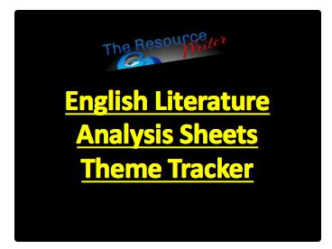 Literature Analysis Sheets Theme Tracker