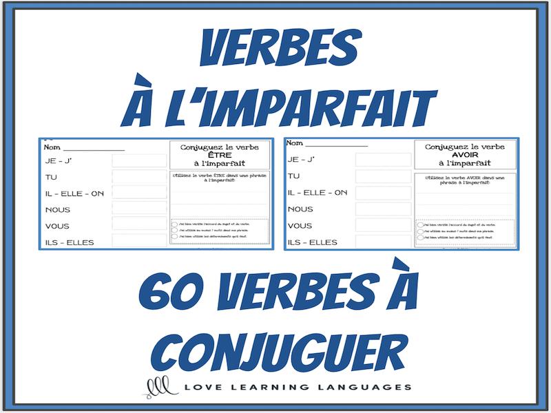 Verbes A L Imparfait 60 Verbes Francais A Conjuguer Teaching Resources