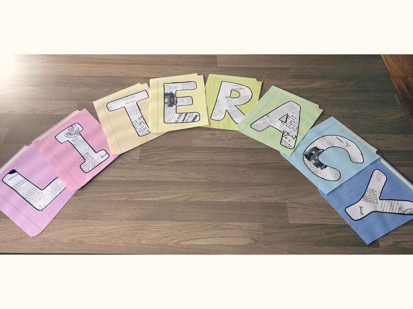 Literacy book themed wall display lettering