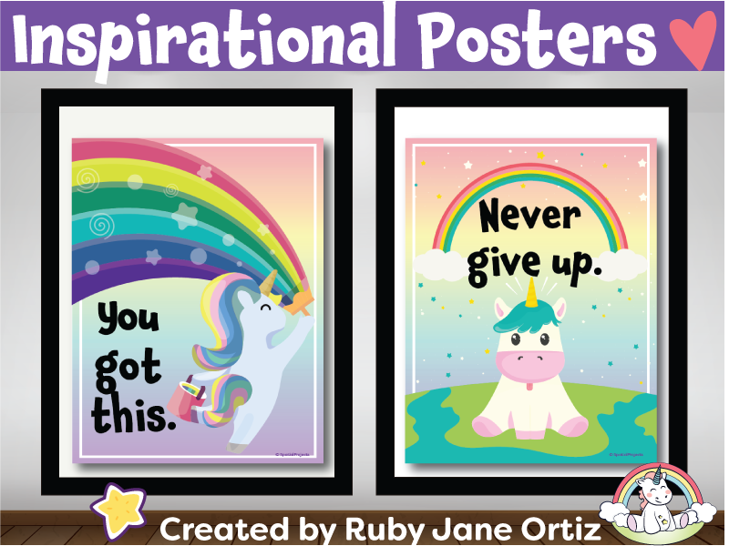 Inspirational Posters (Classroom Decor) for Back to School Bulletin Board - Unicorn Theme