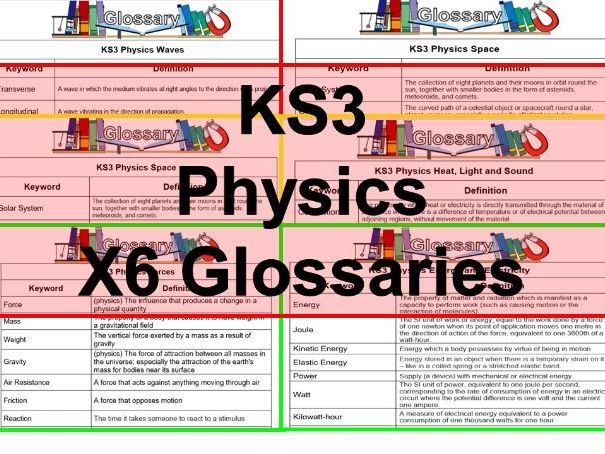 KS3 Science Glossaries Physics x6 (Blank & Completed)