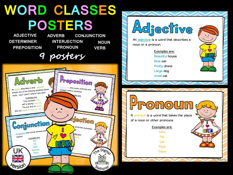 Word Classes Posters  (Parts of Speech)  (UK version) – 9 Posters