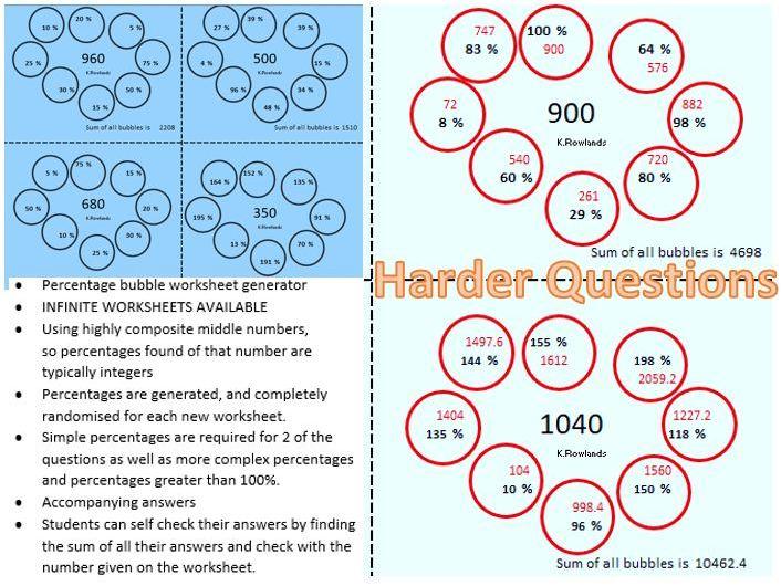 KS3 Percentage Bubbles Generator, Infinite Questions, Answers, 4 questions per sheet, 32 sub qs