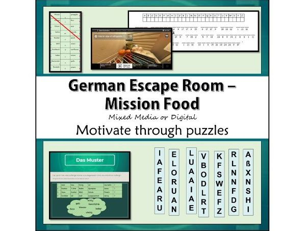 German Escape Room for GCSE food and hobbies