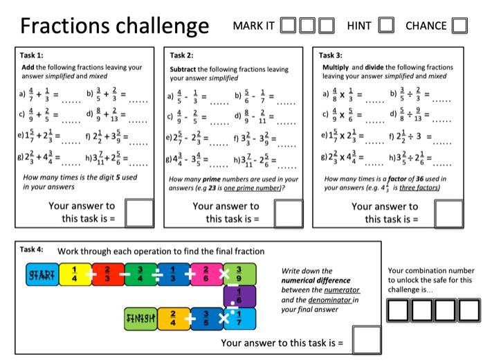 Crack the Code: Fractions (adding, subtracting, multiplying and dividing) - with solutions