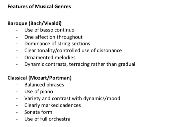 Musical Era and Genre Features Notes