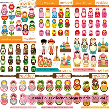 Russian dolls collection clip art mega bundle (9 packs)