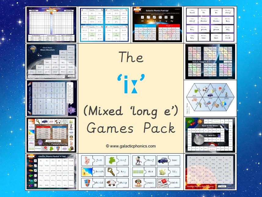 The Mixed 'iː' (long e) Phonics Games Pack