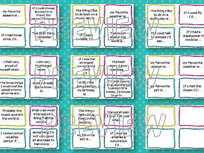 Class Discussion Starter Cards - great for circle time