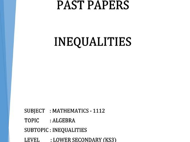 Cambridge Lower Secondary Checkpoint Topical Classified Past Papers-Mathematics-INEQUALITIES