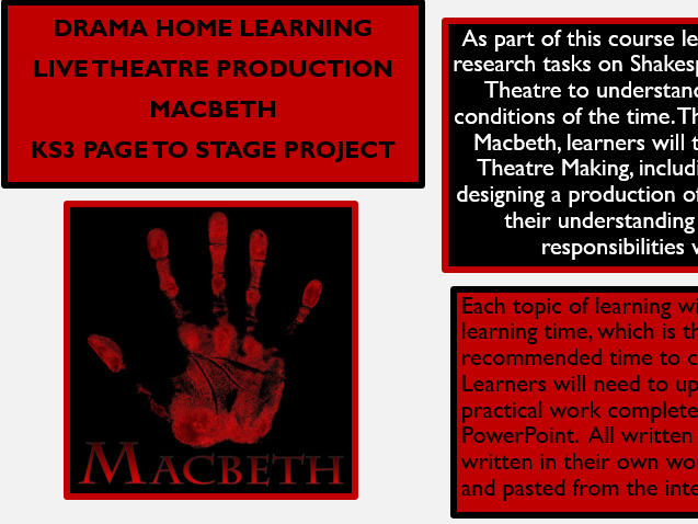 KS3 Drama Home Learning - Macbeth Page to Stage
