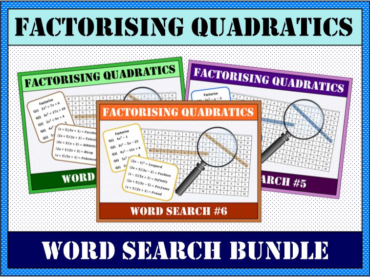 Factorising Quadratics Word Search #4-6