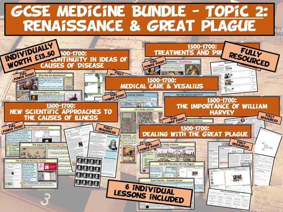 GCSE Medicine Bundle - Topic 2: Renaissance & Great Plague