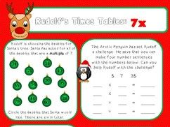 Christmas Maths Activities for 3x to 12x: Rudolf's Times Tables.
