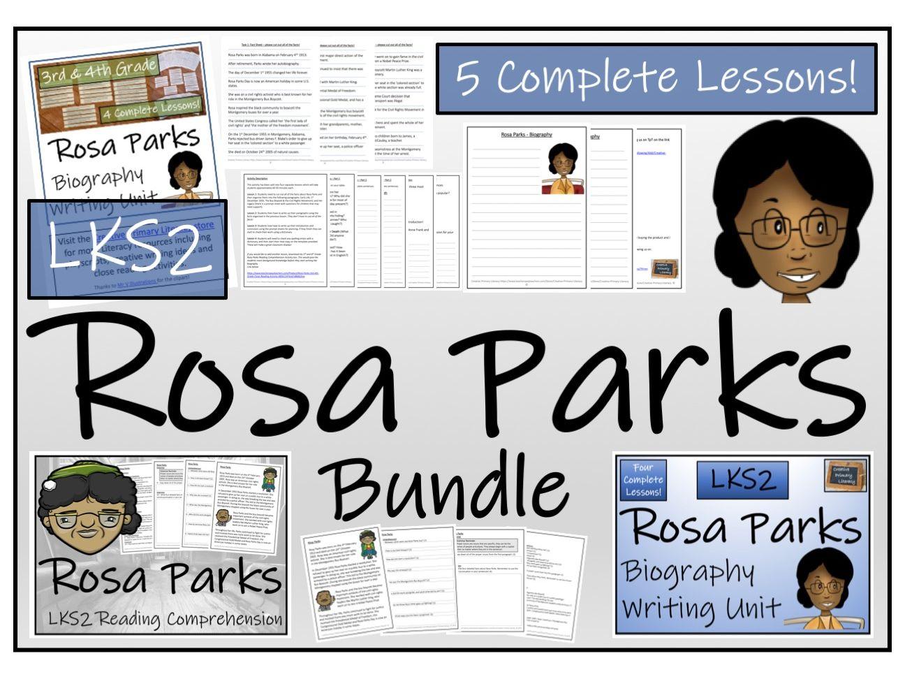 LKS2 History - Rosa Parks Reading Comprehension & Biography Bundle