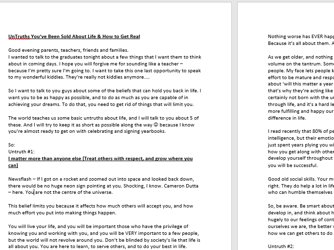Graduation Speech on '5 UnTruths You've Been Sold About Life & How to Get Real' - Full Document