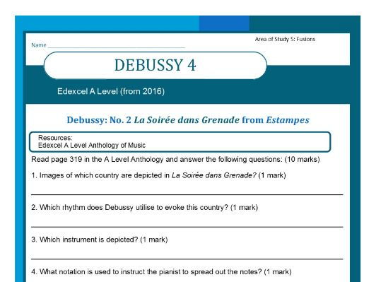 Edexcel Music A level (from 2016) Debussy worksheet 4 including wider listening