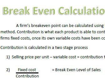 Undertaking An Enterprise Project - 1.7 Break Even Analysis