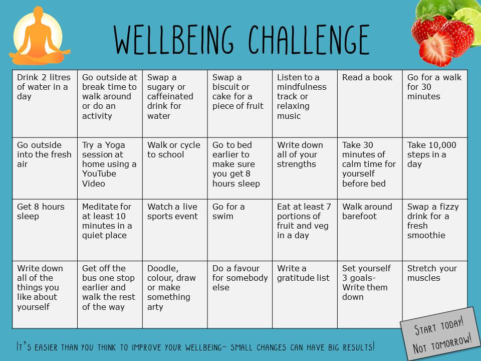 Well being Challenge Card for Students