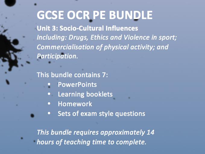 OCR GCSE PE 9-1 2016 Unit 3 Socio-cultural influences
