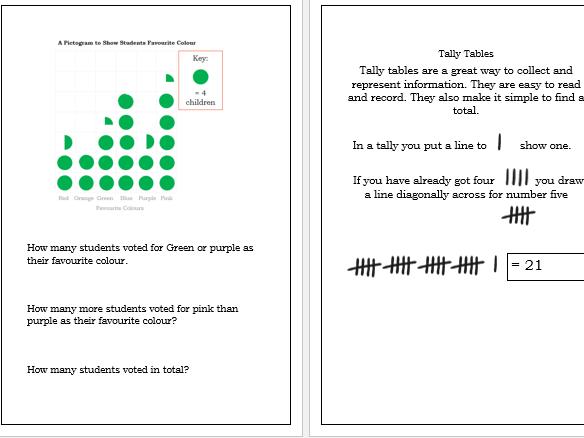 GCSE Maths/Functional Skills- Pictograms-Tally Tables-Bar charts Workbook
