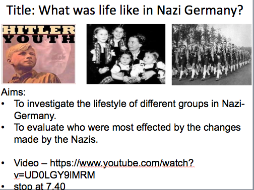 Year 9 Nazi Germany- Lesson 2 Life in Nazi Germany