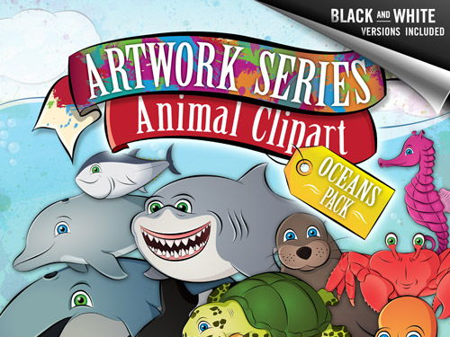 Animal Clip Art: Oceans Pack - Shark, Dolphin, Orca, Crab, Lobster, Turtle, +more