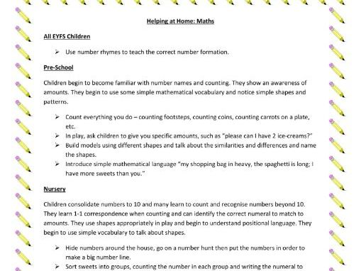 Printable Sheet of Home Learning Activities for Maths (EYFS)