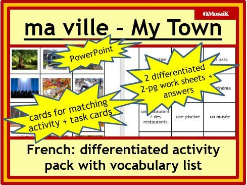 French: ville / town, places, activities; differentiated