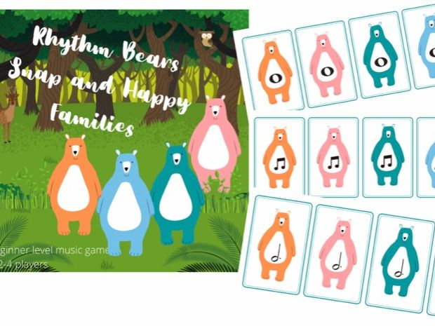 Rhythm Bears Snap and Happy Families Music Theory Card Game Beginner Level