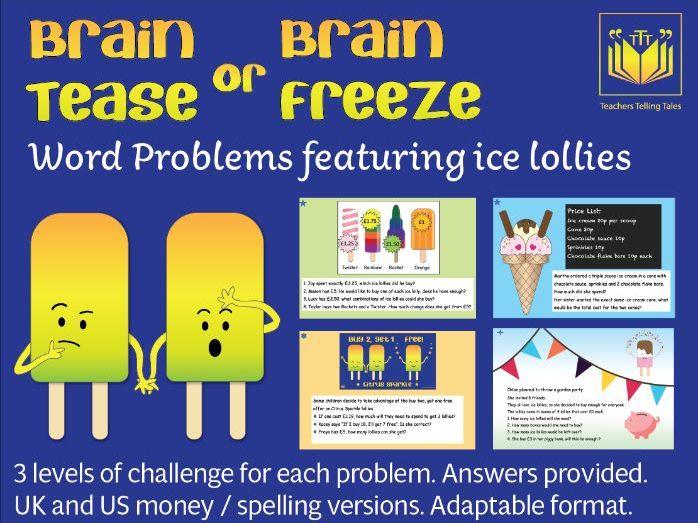 Brain Tease or Brain Freeze word problems