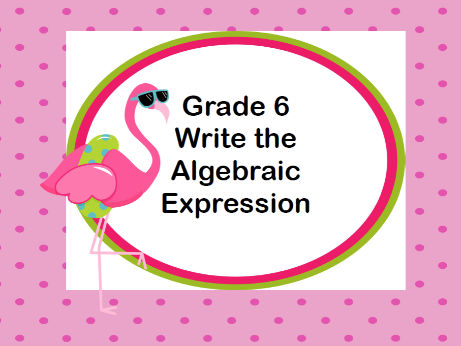 Writing Algebraic Expressions Task Cards -Funny Flamingo