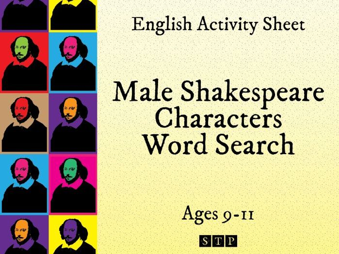 Shakespeare Word Search Male Characters by STPBooks | Teaching Resources