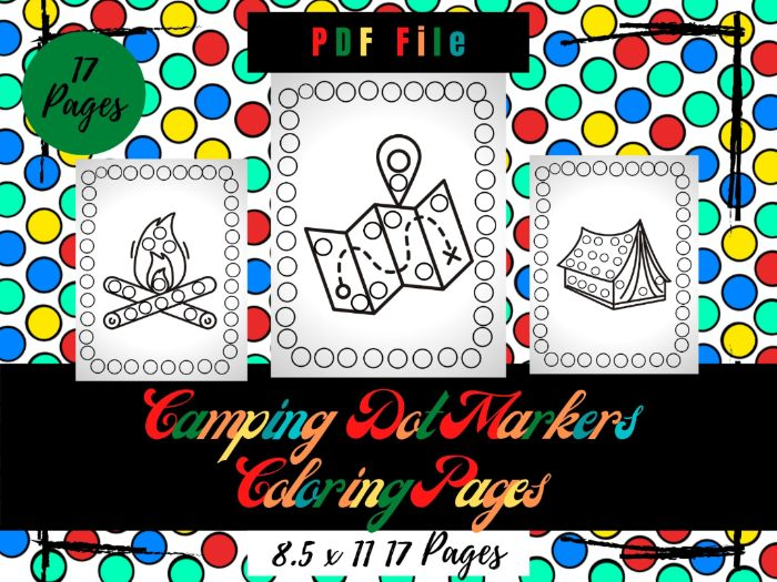 Camping Dot Markers Colouring Pages, Printable Dot Markers Sheets PDF