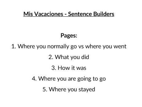 Mis Vacaciones (My Holidays) 5 Sentence Builders