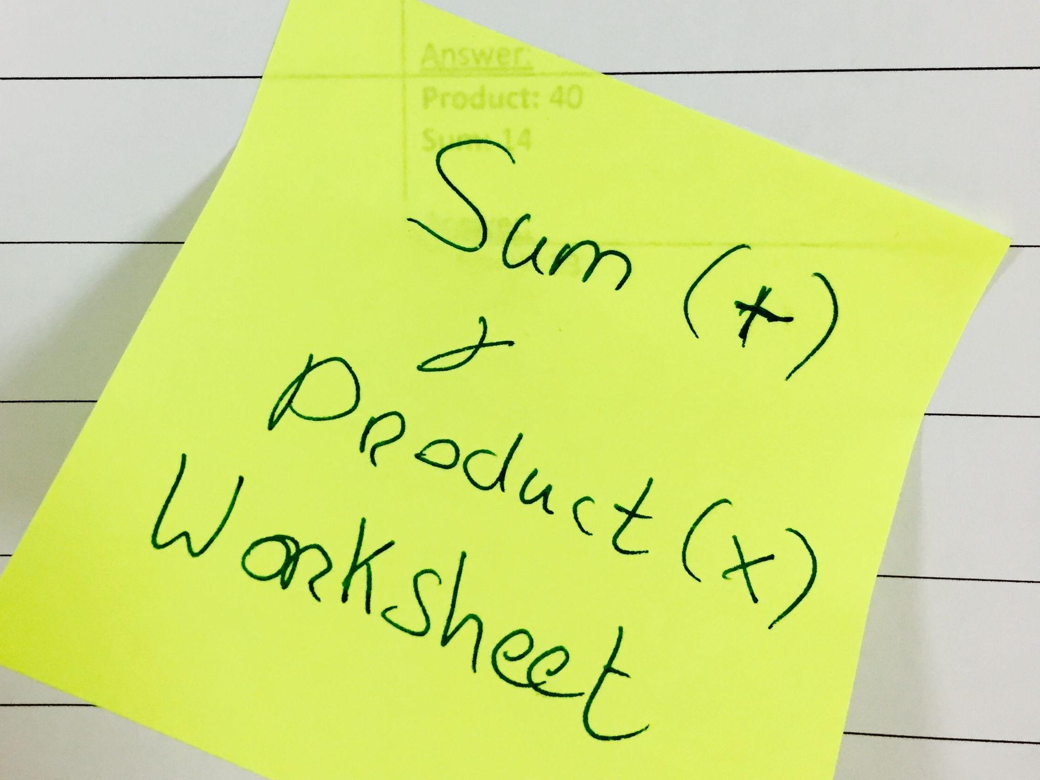 Quadratic Factorisation Intro: Sum and Product Worksheet