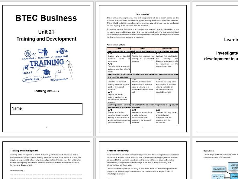 BTEC Nationals 2016 Unit 21 Training and Development Complete Student Workbook