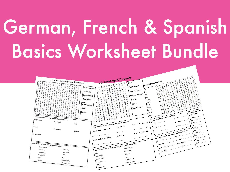 German, French & Spanish Basics Worksheet Bundle