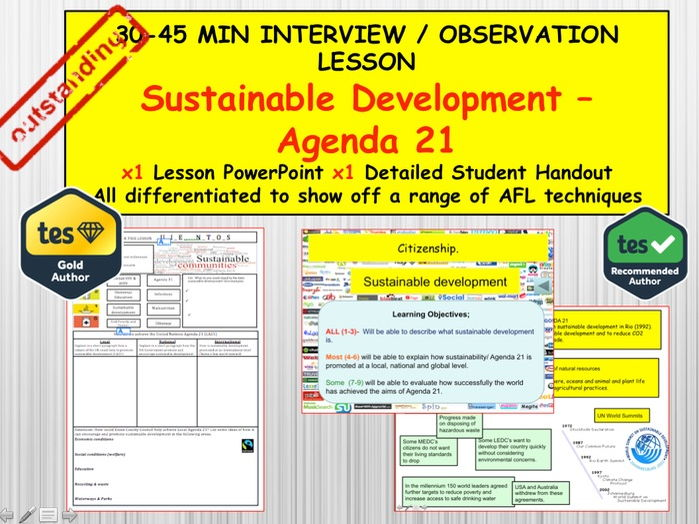 Sustainable Development: (Interview or Observation Lesson Resources) PSHE Citizenship. UN Agenda 21